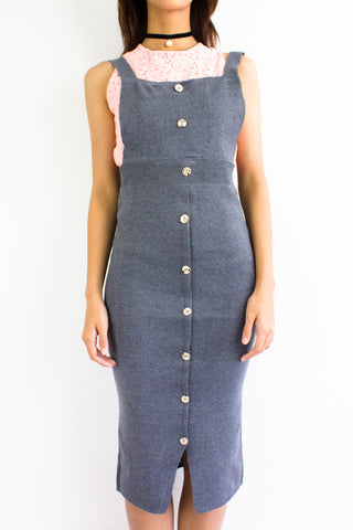 DeeDee Knitted Midi Pinafore in Charcoal Grey