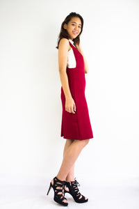 Valentina V-Neck Pinafore in Red - DRESSES - Peep Boutique