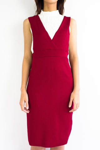Valentina V-Neck Pinafore in Red
