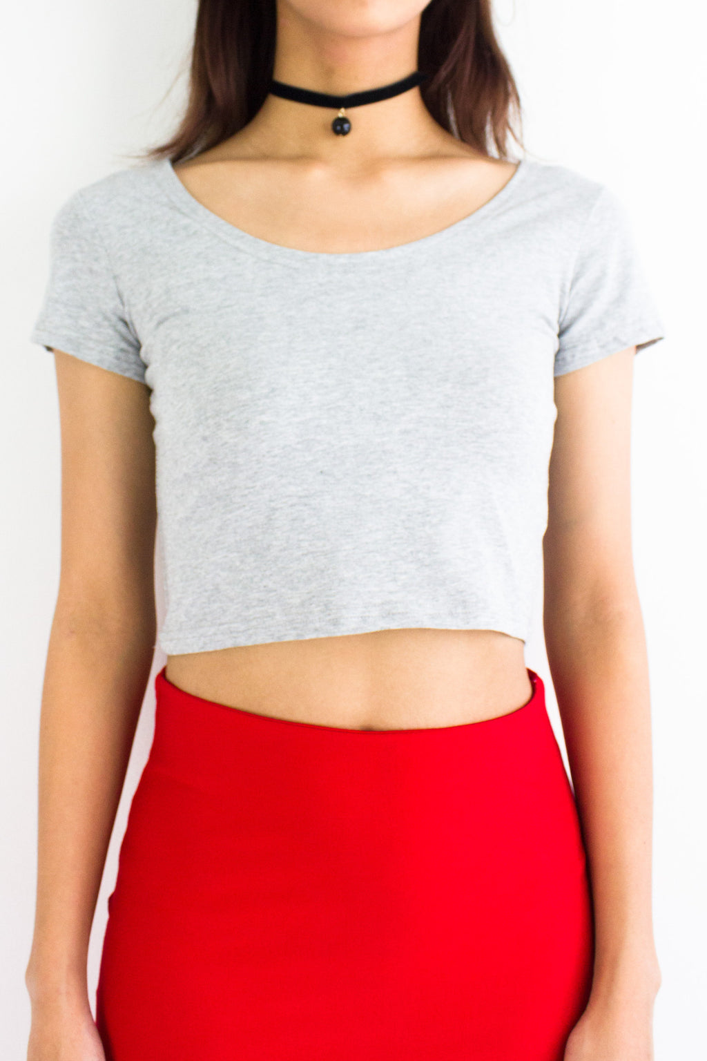 Basic Crop Top in Grey - TOPS - Peep Boutique