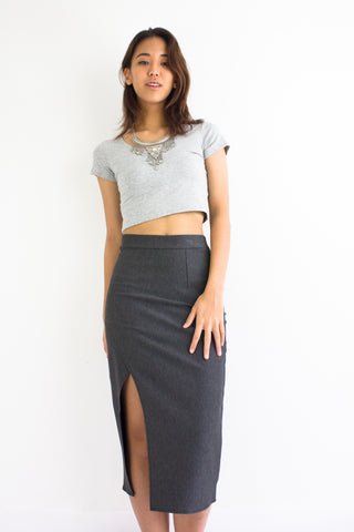 Hint of Leg Midi Skirt in Charcoal