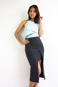 Front Split Midi Skirt in Charcoal Grey - BOTTOMS - Peep Boutique