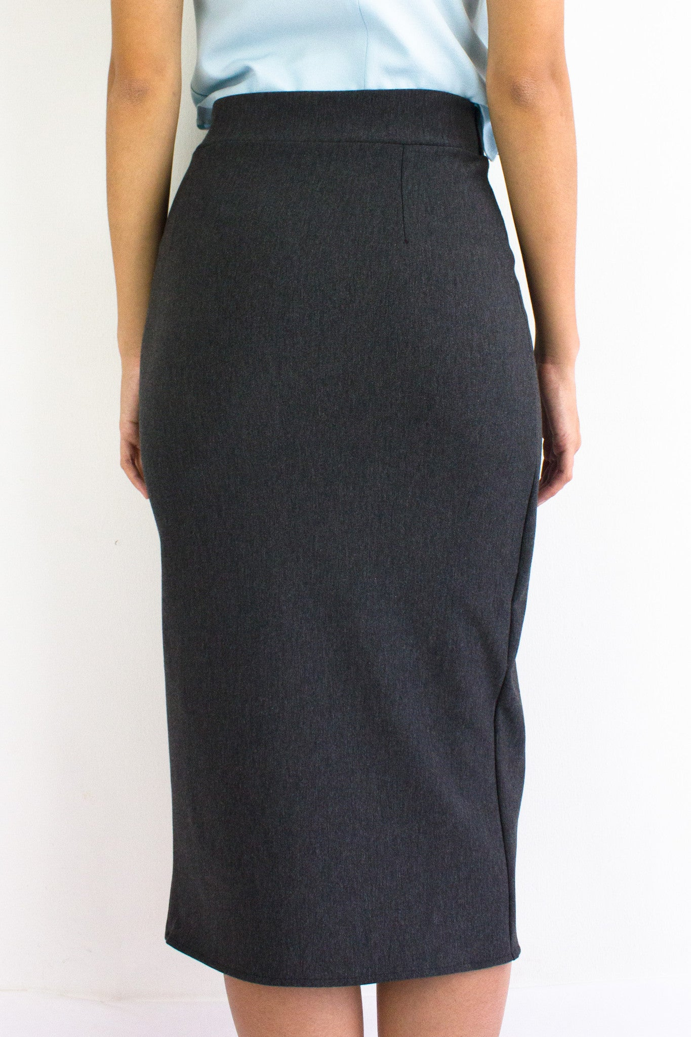 Front Split Midi Skirt in Charcoal Grey