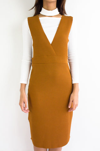 Valentina V-Neck Pinafore in Camel