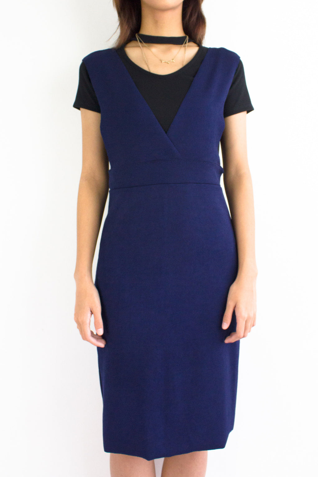 Valentina V-Neck Pinafore in Navy Blue - DRESSES - Peep Boutique