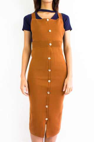 DeeDee Knitted Midi Pinafore in Camel