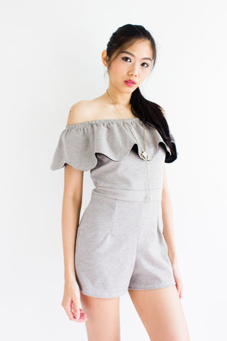 Maya Flutter Off Shoulder Romper in Grey