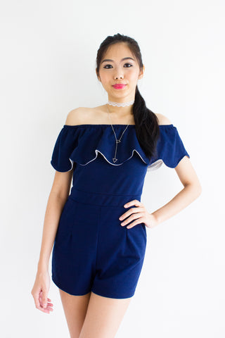 Maya Flutter Off Shoulder Romper in Navy Blue