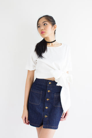 Demi Denim Mini Skirt in Dark Blue