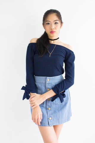 Kitty Off-the-Shoulder Top in Navy Blue