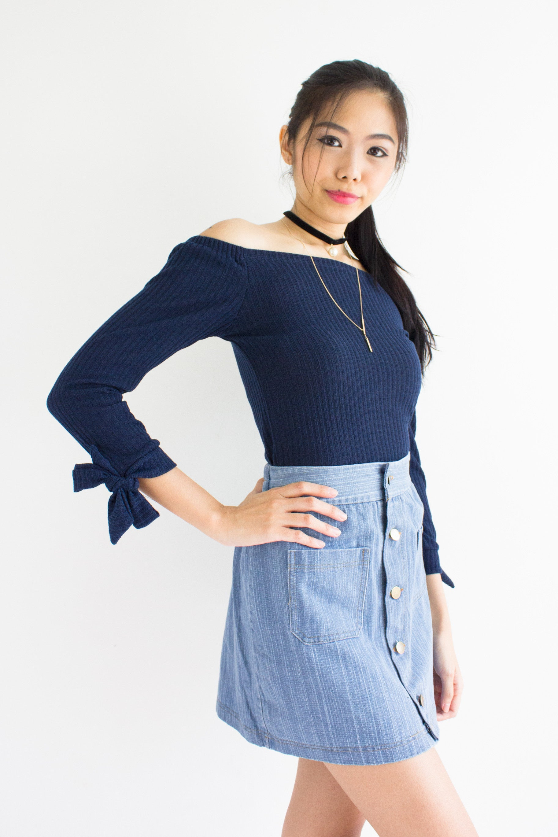Kitty Off-the-Shoulder Top in Navy Blue – Peep Boutique