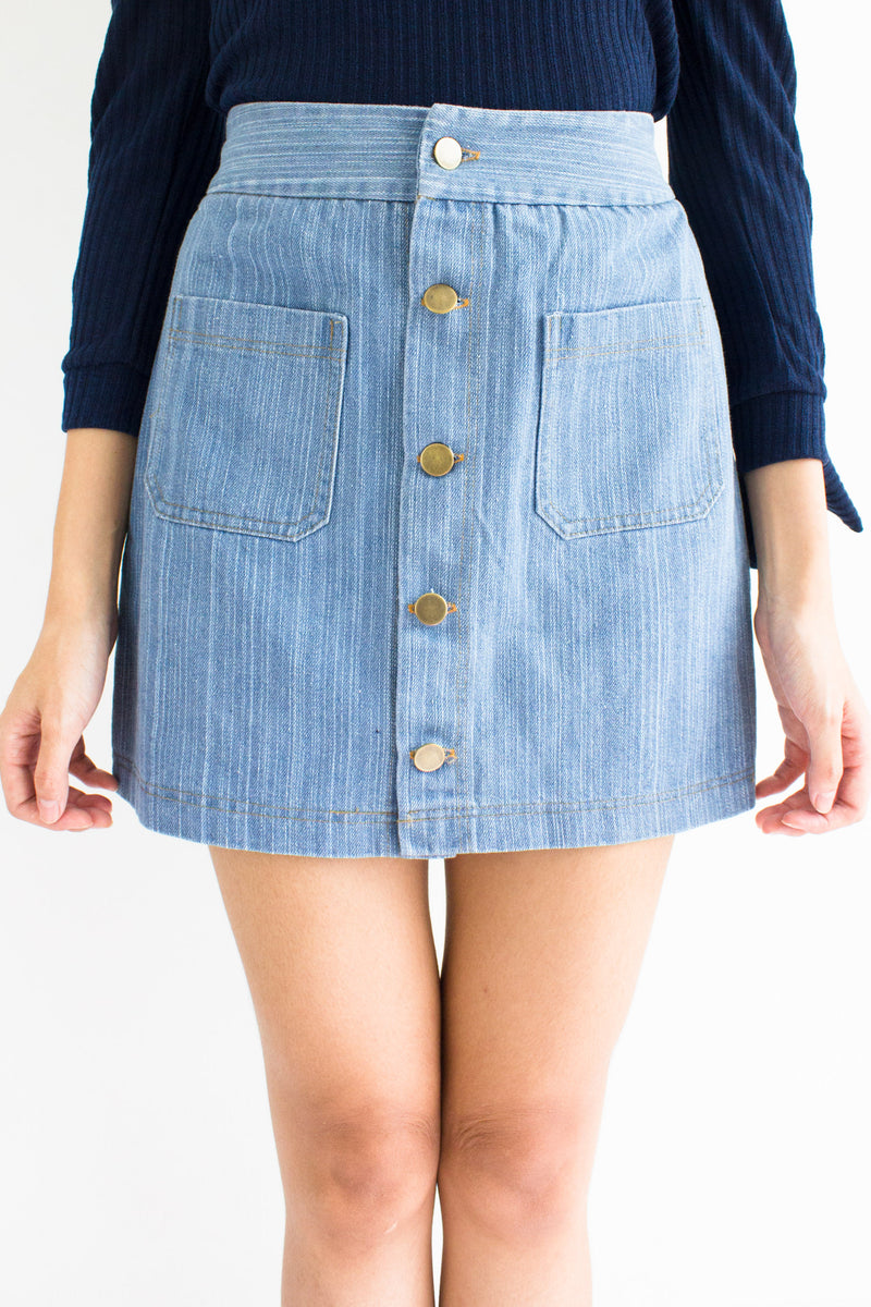 Demi Denim Mini Skirt in Light Blue - BOTTOMS - Peep Boutique