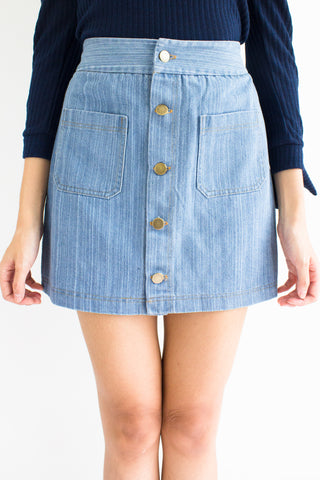 Demi Denim Mini Skirt in Light Blue