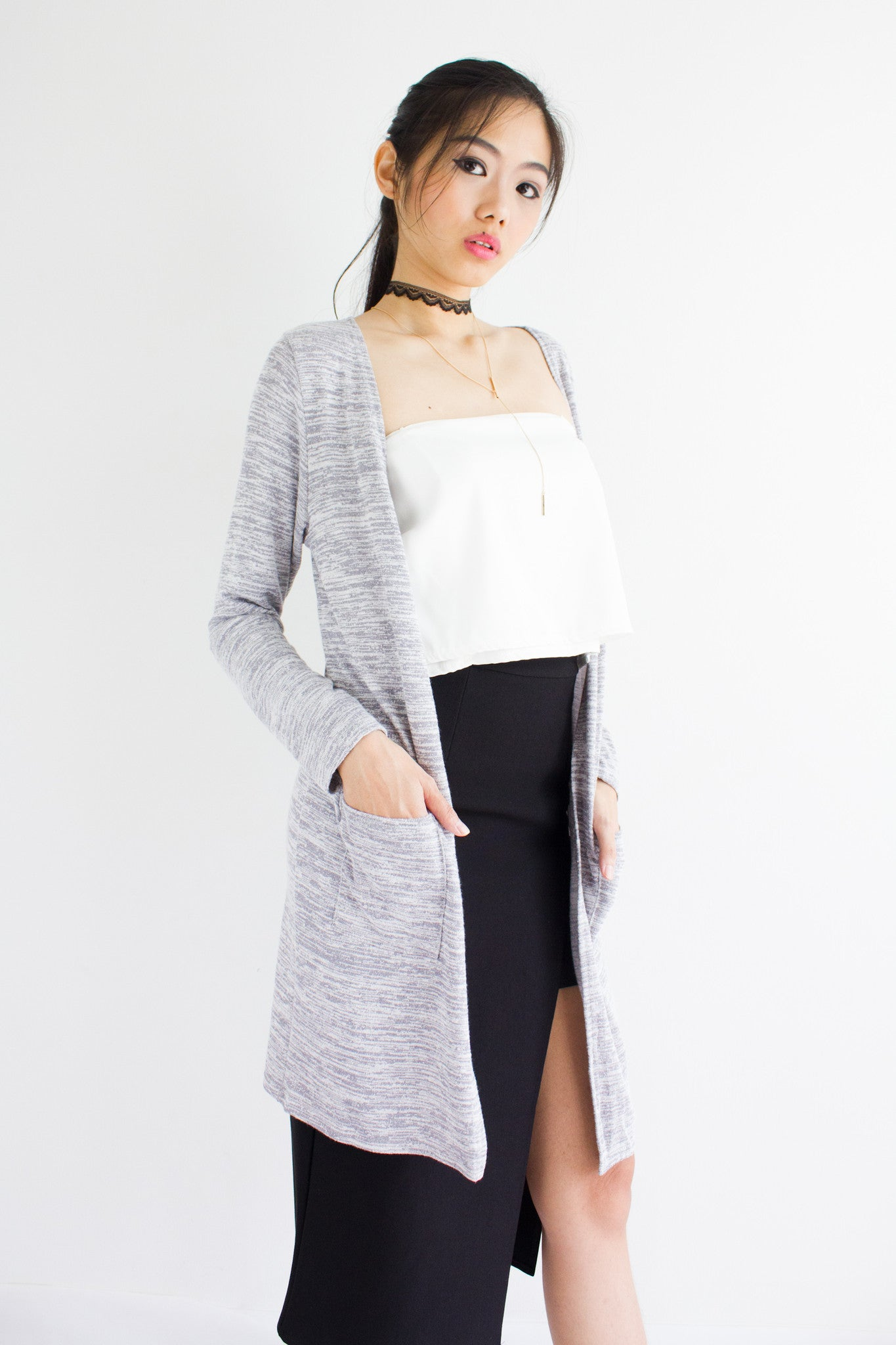 Leander Long Lightweight Cardi in Light Speckled Grey