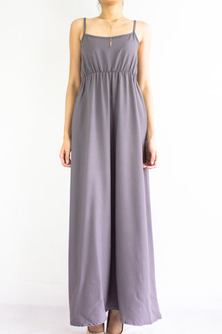 Elena Empire Waist Maxi Dress in Dark Grey