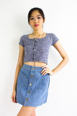 Soft Speckled Crop Top in Navy Blue