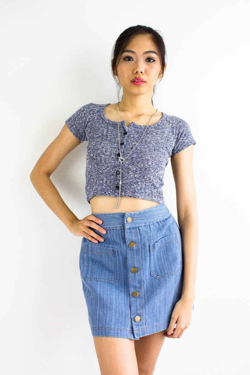 Soft Speckled Crop Top in Navy Blue - TOPS - Peep Boutique