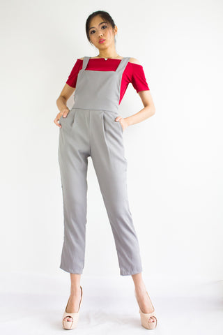 Taylor Tapered Dungarees in Light Grey