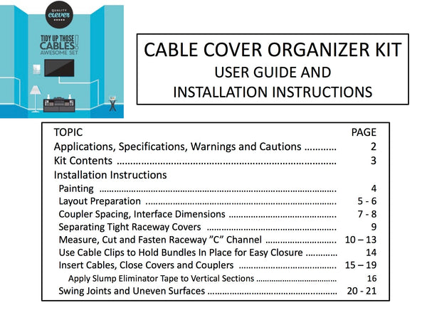 Quality Clever Cable Cover Management Kit User Guide and Installation Instructions