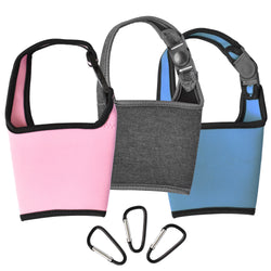 Insulated Cup Totes, 3-Pk- Blue, Pink, Charcoal Black
