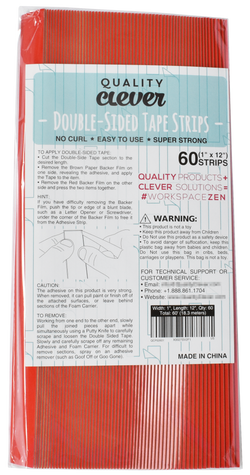 "Double-Sided Tape, 1"" Wide x 12"" Long, 60 PCS"