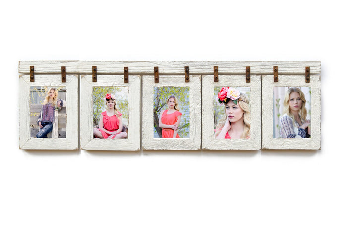 Ivory Barnwood Collage Frame 5 hole 4X6 Multi Opening Frame-Rustic Picture Frame-Reclaimed-Vertical- Portrait-Collage Frame