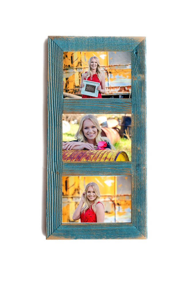 3 hole 8x10 Barnwood Vertical Collage Picture Frame. Ocean Blue Picture Frame. Distressed Picture Frames. Photo Frame. Rustic Frame. Collage