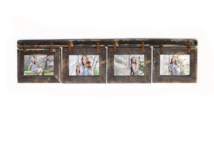 Collage Picture Frame 4 hole 4x6 Multi Opening Frame Rustic Picture Frame