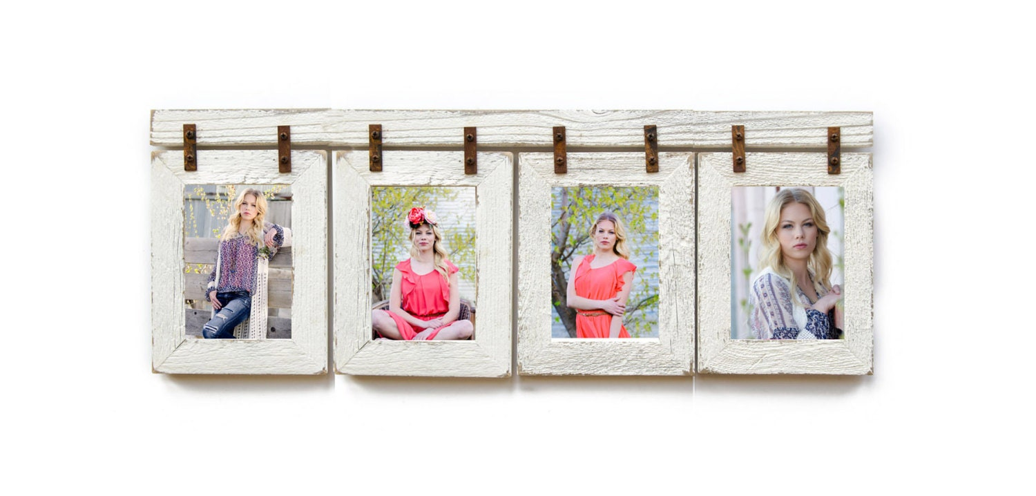 Collage Picture Frame 4 Hole 8x10 Multi Opening Frame Rustic Picture
