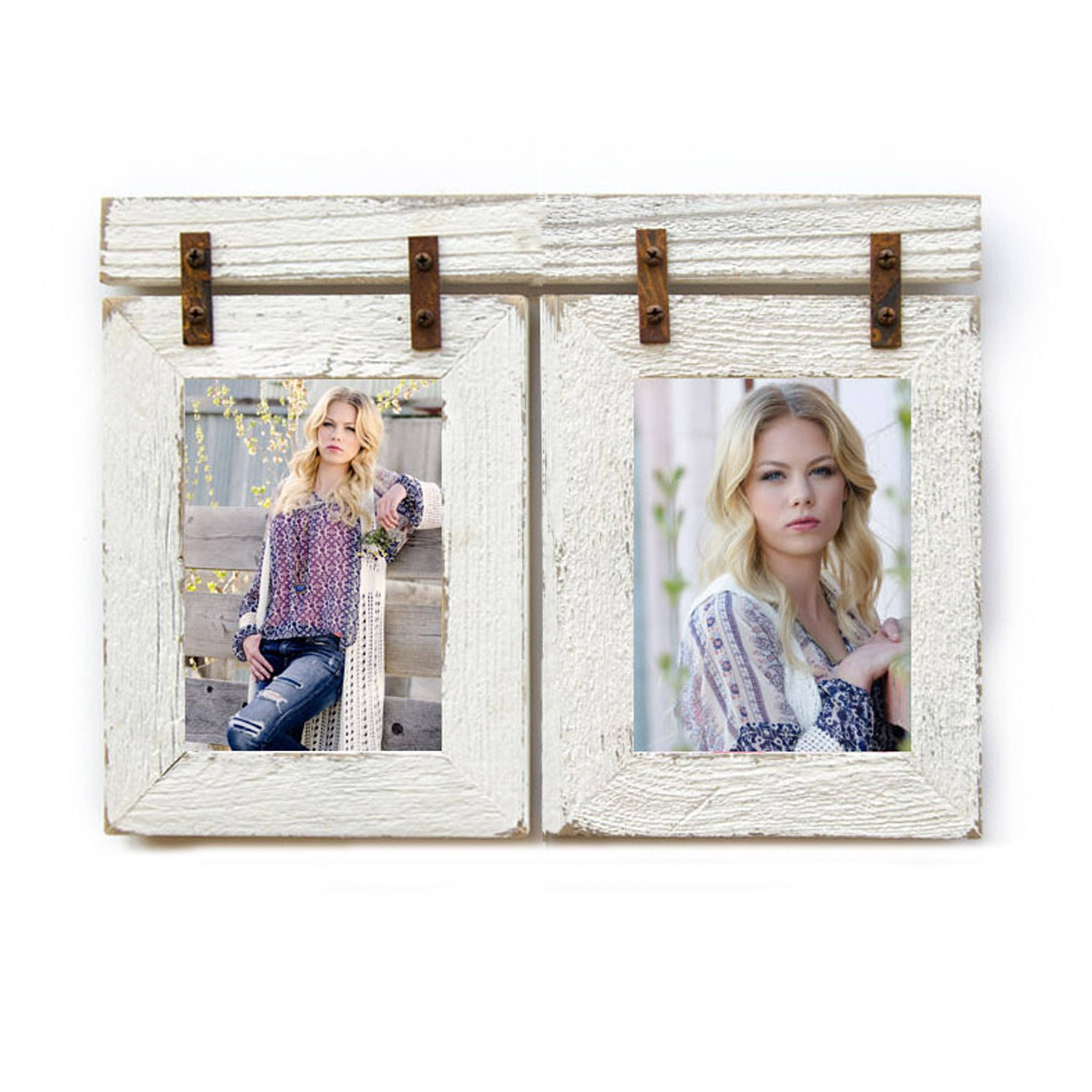 5x7 Barnwood Collage White Frame 2 5x7 Multi Opening Frame Rustic