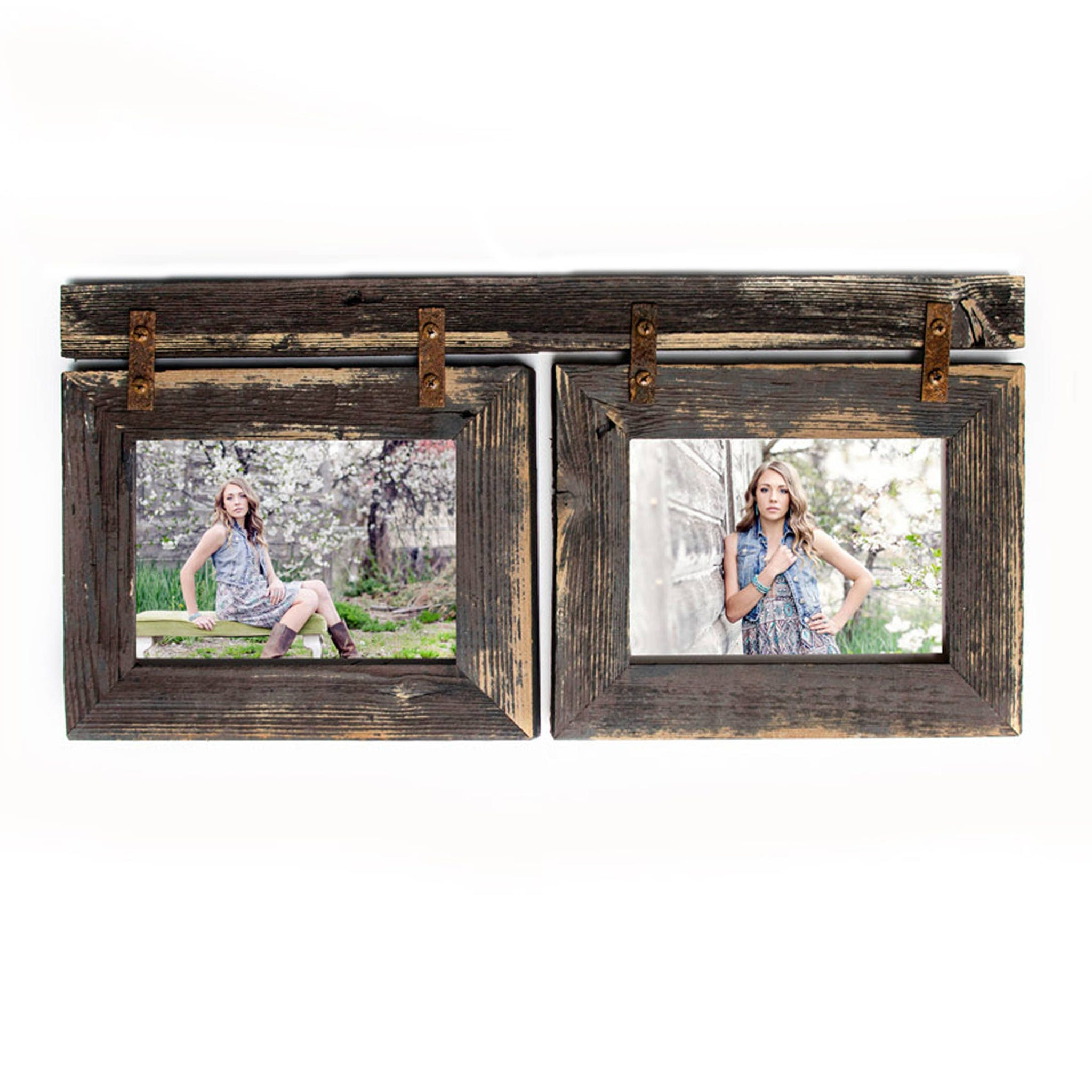 4x6 Barnwood Collage Picture Frame 2) 4x6 Multi Opening Frame-Rustic ...