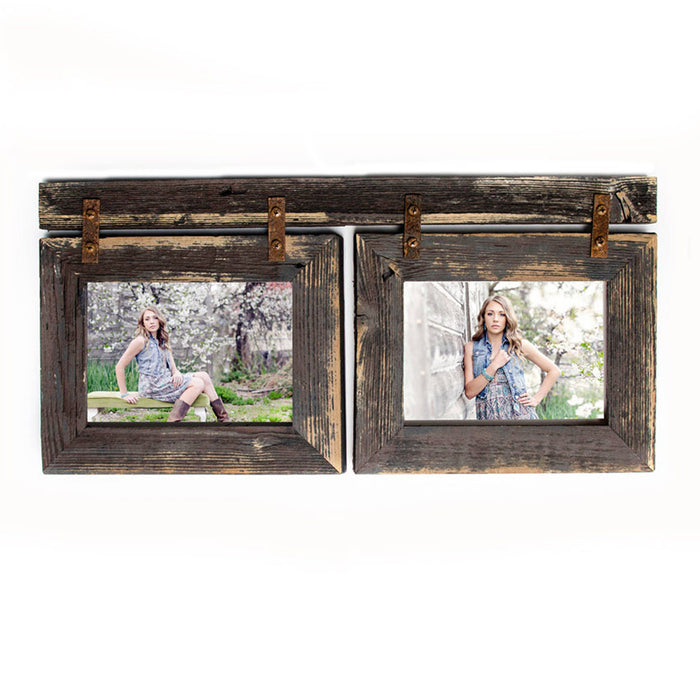 4x6 Barnwood Collage Picture Frame 2) 4x6 Multi Opening Frame-Rustic Picture Frame-Reclaimed-Cottage Chic-Collage Frame-Collage Frame-Shabby