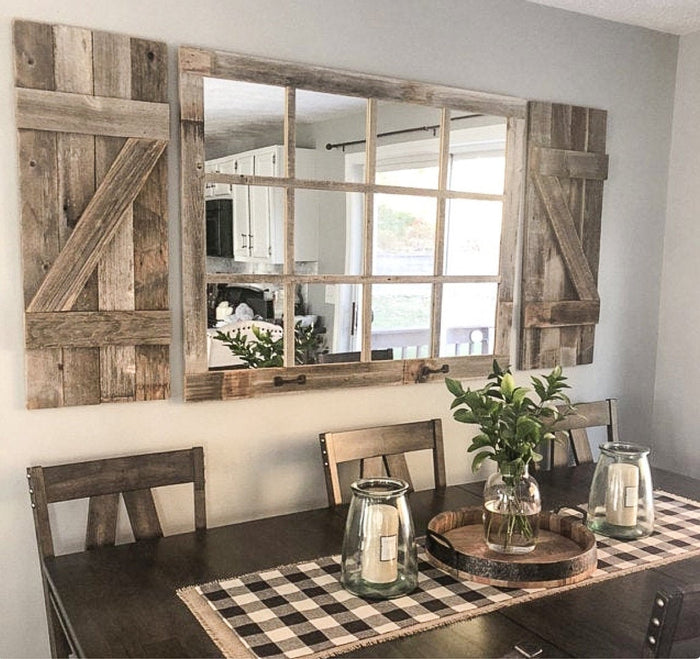 Farmhouse Wall Decor Window Mirror with Shutters, Rustic Window Mirror, Rustic Mirror, Large Window Mirror, Window Pane Mirror, Wall Mirror