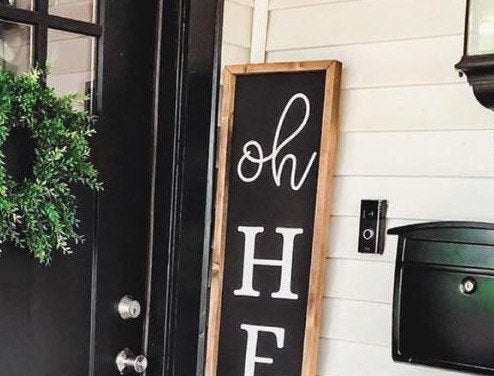Oh Hello Wood Front Porch Sign