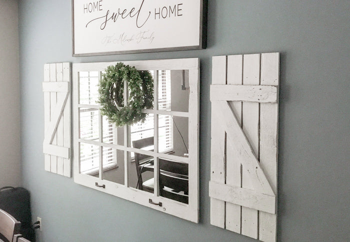 Mirror + Shutters Farmhouse Wall Decor, Farmhouse Decor Living Room, Rustic Home Decor for Walls,  Rustic Home Decor, Mirror Wall Decor,