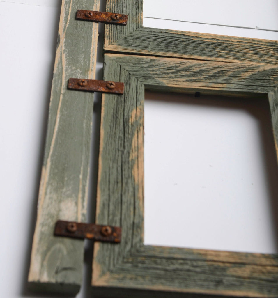 "2"" Barnwood Collage Sage Frame 3) 4x6 Multi Opening Frame-Rustic Picture Frames-Reclaimed-Cottage Chic-Collage Frame"