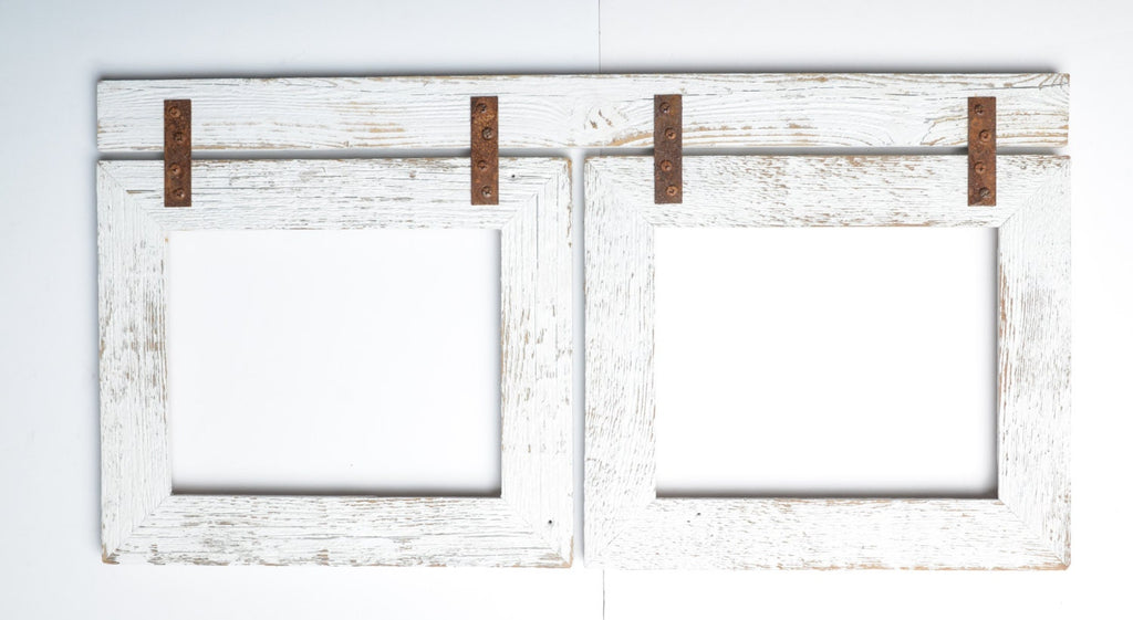 Barnwood Collage White Frame 2) 11x14 Multi Opening Frame-Rustic Picture Frame-Reclaimed-Cottage Chic-Collage Frame-Collage Frame-Shabby