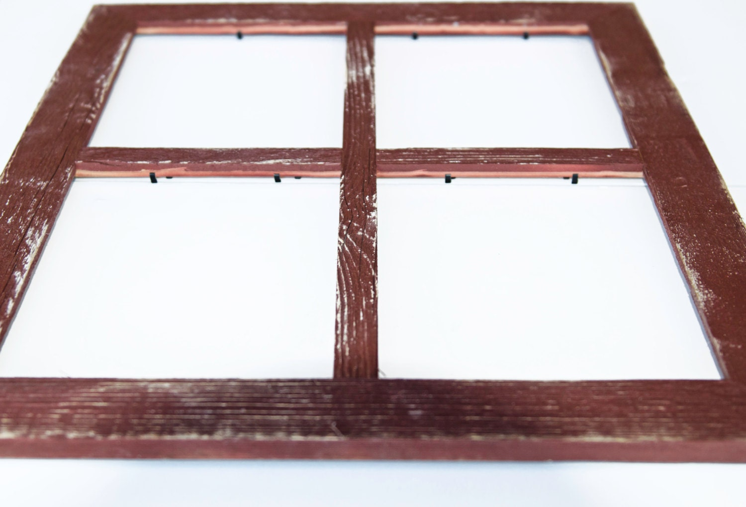 2 4 hole 8x10 barn window collage picture frame barn red rustic wedding - Window Collage Frame
