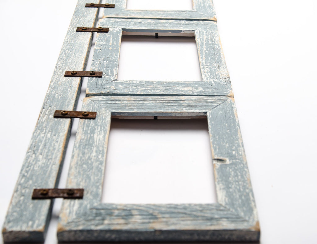 Barnwood Collage Turquoise Frame 3) 5x7 Multi Opening Frame-Rustic Picture Frame-Reclaimed-Landscape or Portrait-Collage Frame-Collage Frame