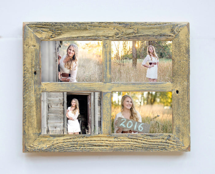 "2"" 4 hole 8x10 Barn Window Collage Picture Frame-Yellow & Gray-Distressed Frame-Collage Frame-Picture Frames-Wedding Gift-Reclaimed"