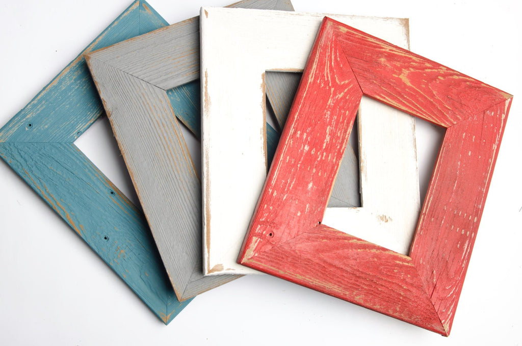 Picture Frame Collection 4) 5x7 shabby distressed photo frames, rustic picture frame, poppy red SEVERAL colors to choose from