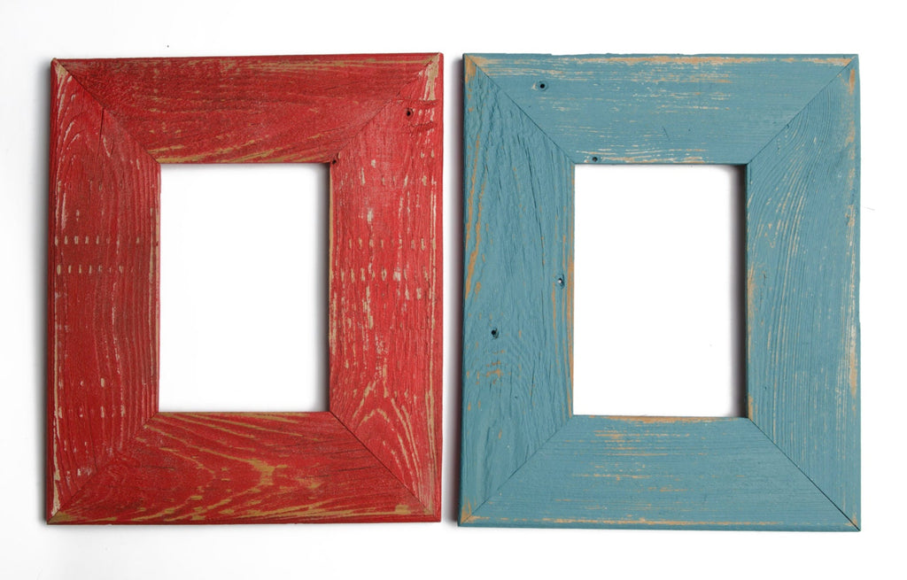 Set of TWO 8x10 Rustic Barnwood Distressed Rustic Picture Frame-Farmhouse Distressed Frame- Poppy & Ocean-Shabby Chic Picture Frames