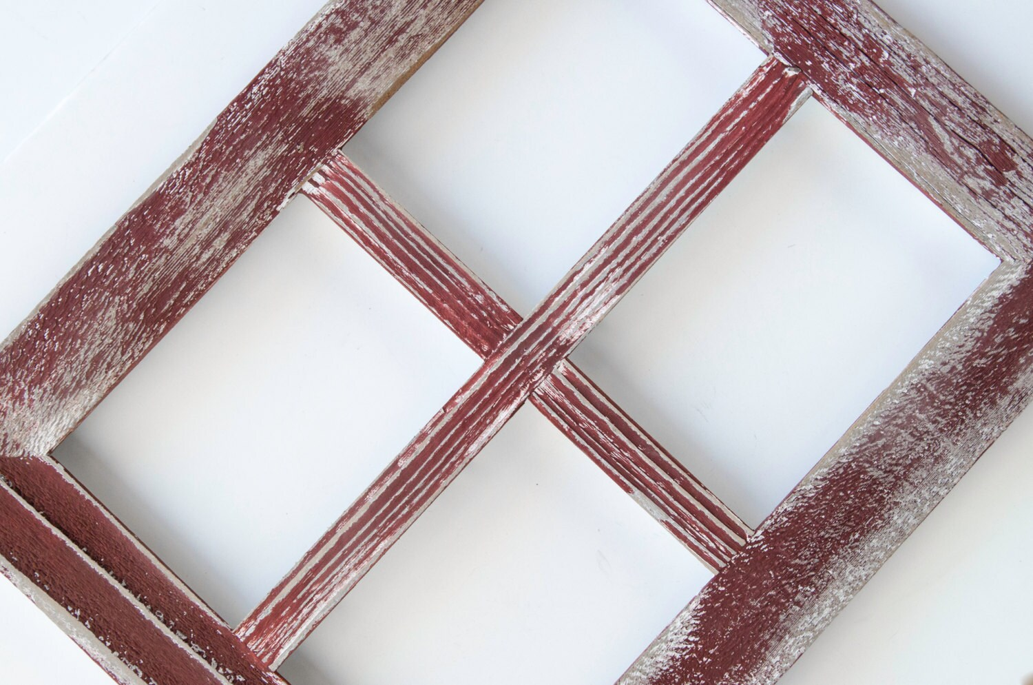 5x7 Red Rustic Picture Frame. Collage Frame. Window Frame. Shabby ...