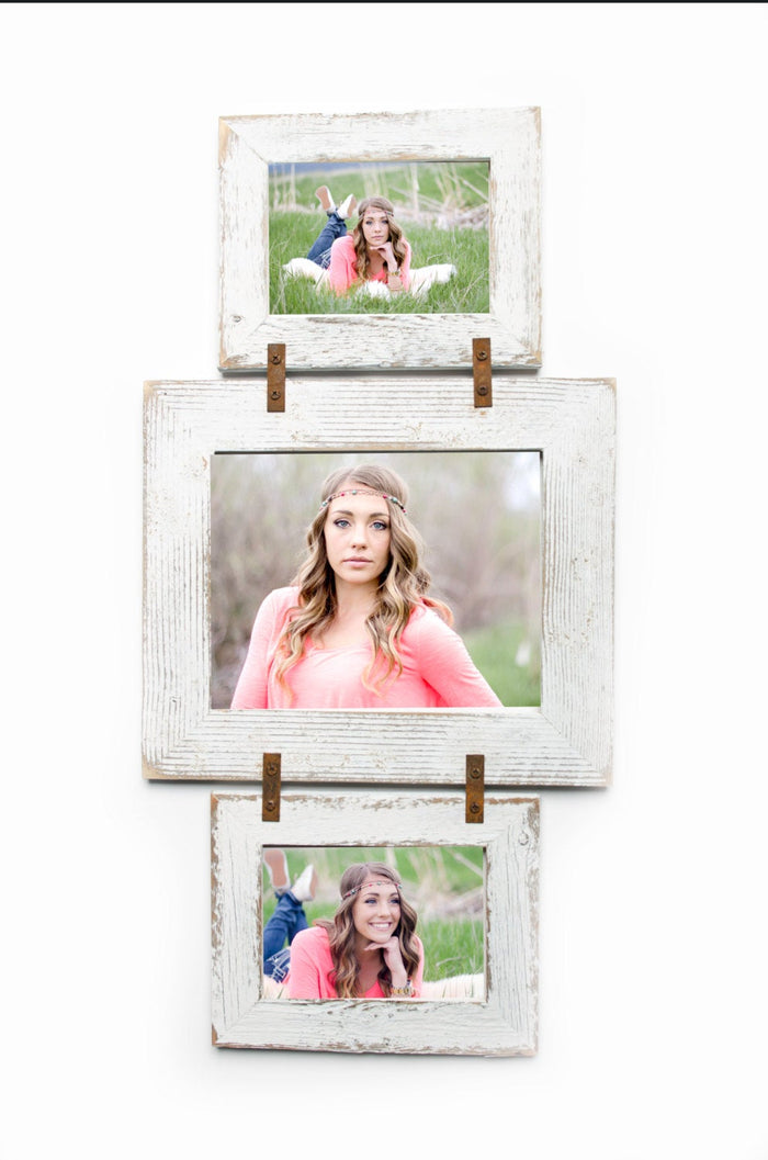 Collage Picture Frame 2 hole 5x7 and  1 hole 8x10 Multi Opening Frame - Rustic Picture Frame - Barnwood Frames