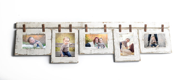 Mixed Barnwood Collage Frame 5 hole 4x6 Multi Opening Frame-Rustic Picture Frame-Reclaimed-Landscape or Portrait-Collage Frame