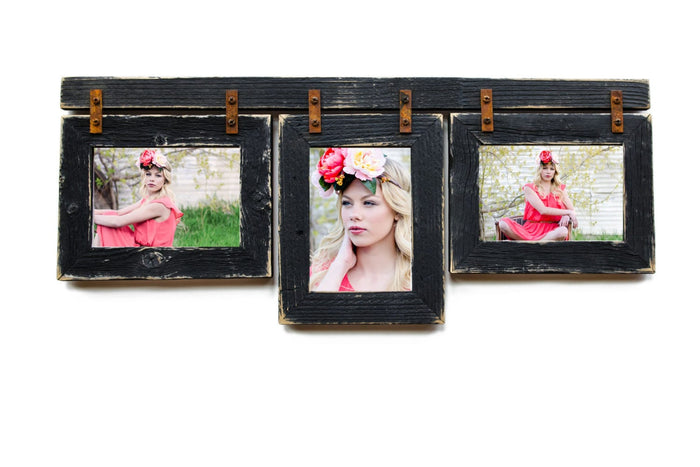 4x6 Barnwood Collage Picture Frame 3) 4x6 Multi Opening Frame-Rustic Picture Frames-Reclaimed-Cottage Chic-Black Collage Frame