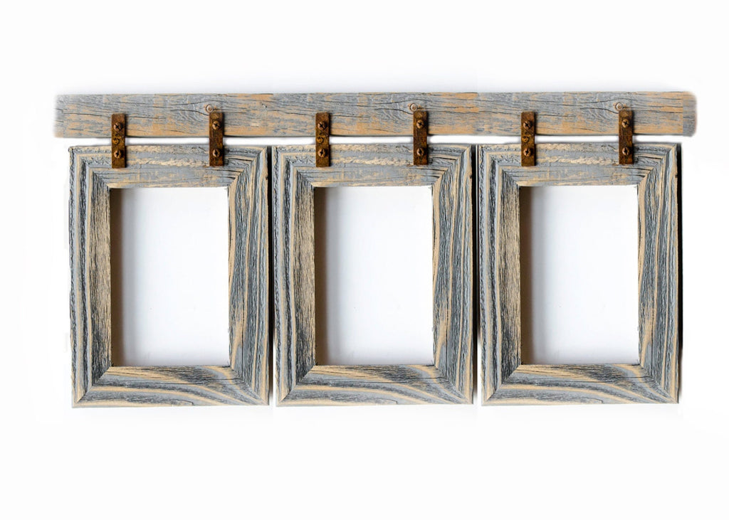 Collage Picture Frame 3) 8x10 Multi Opening Frame-Rustic Picture Frames-Reclaimed-Cottage Chic-Collage Frame - Gray Wedding