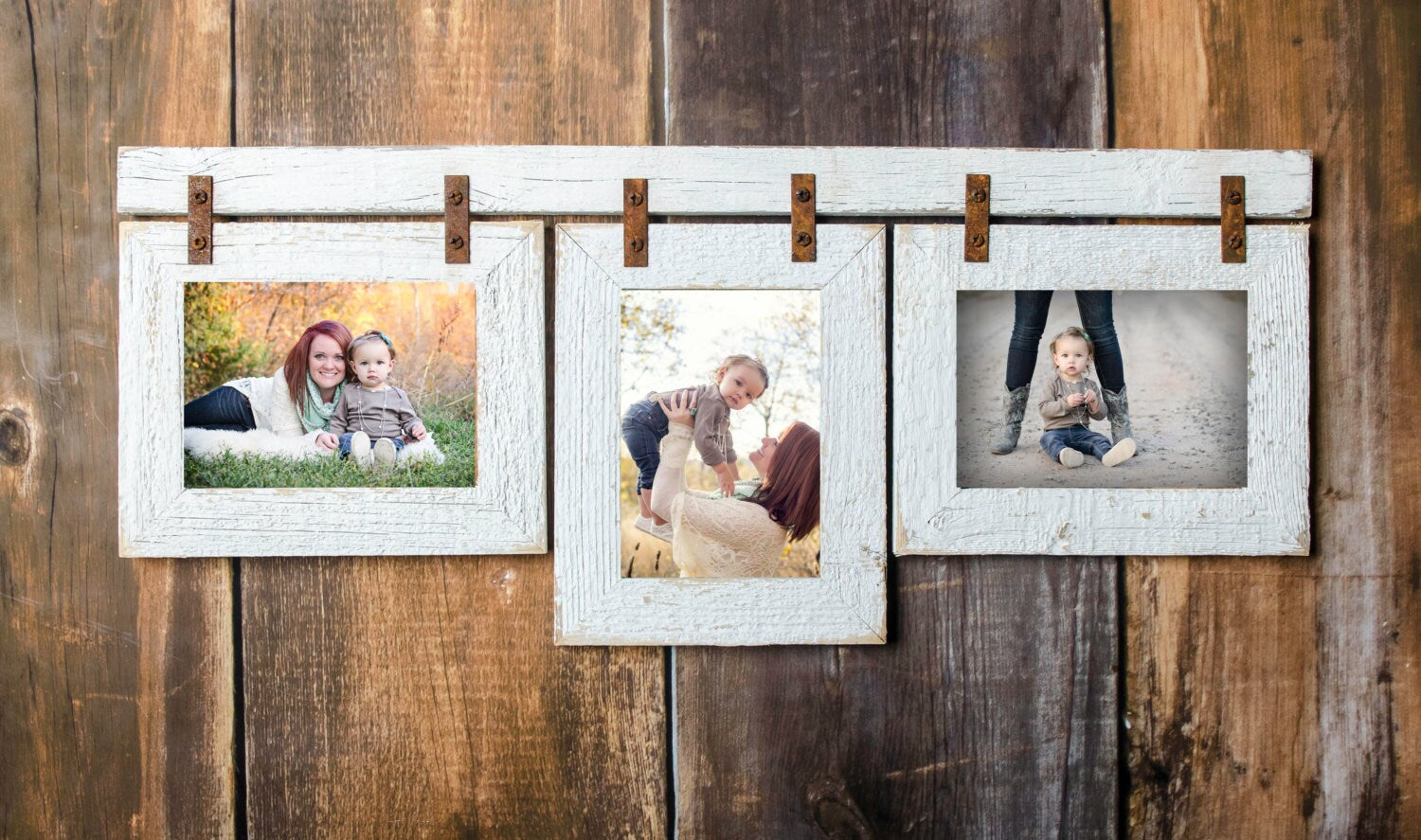 Collage Picture Frame 3 5x7 Multi Opening Frame Rustic Picture