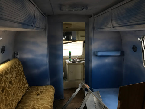 This is the inside of the Airstream before gutting it.