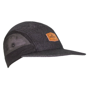 Boulder Denim Black Denim 5 Panel Hat Angled